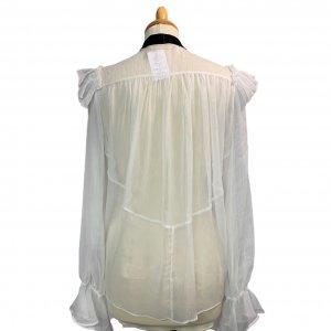 חולצה מכופתרת לבנה עם קשירה שחורה בצאוורון - Chloé 2