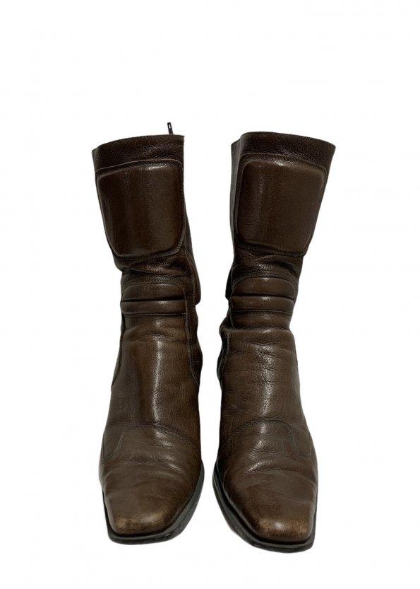 מגפיים עור חום - MIU MIU 1