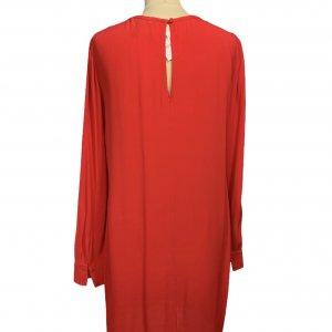 שמלה שרוול ארוך בצבע אדום פתחים משולשים - BCBG 2