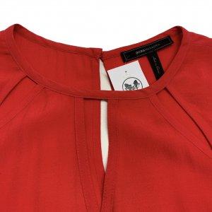 שמלה שרוול ארוך בצבע אדום פתחים משולשים - BCBG 4