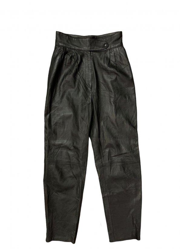 מכנס עור שחור גבוה - וינטג׳ 1