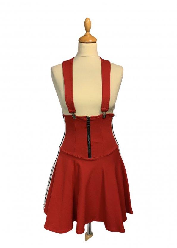 שמלת שלייקעס ומחוך בצבע אדום עם פסים שחור לבן בצד - ADIDAS 1