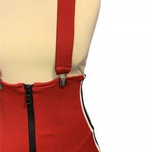 שמלת שלייקעס ומחוך בצבע אדום עם פסים שחור לבן בצד - ADIDAS 5
