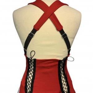 שמלת שלייקעס ומחוך בצבע אדום עם פסים שחור לבן בצד - ADIDAS 3