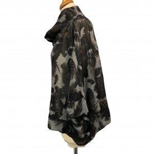 סריג אוברסייז שרוול קצר, שחור עם אפור - BELLINKY 3