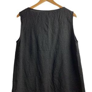 חוצת פשתן שחורה, ללא שרוול עם כיסים בצדדים - COP. COPINE 2