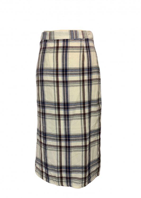 חצאית צמר וינטג׳ משבצות לבן כחול חום 1