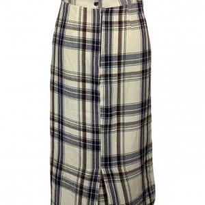 חצאית צמר וינטג׳ משבצות לבן כחול חום 2