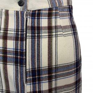 חצאית צמר וינטג׳ משבצות לבן כחול חום 4