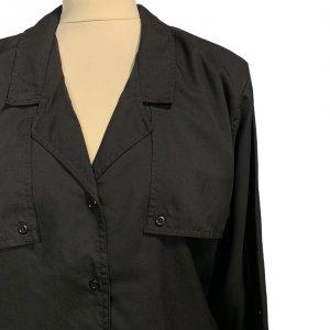 חולצה מכופתרת שרוול ארוך שחורה עם כריות כתפיים וינטג' - DVF 5