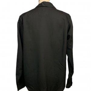 חולצה מכופתרת שרוול ארוך שחורה עם כריות כתפיים וינטג' - DVF 2
