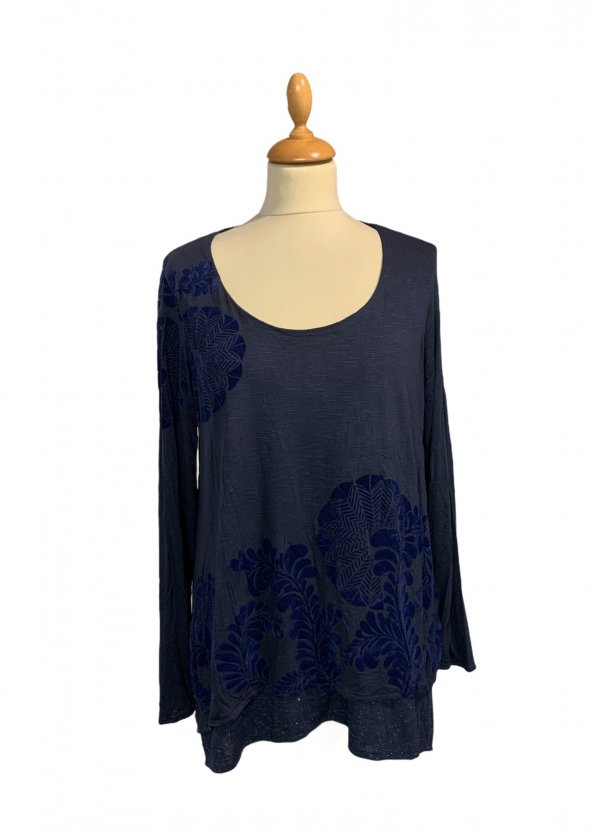 חולצת טריקו שרוול ארוך שתי שכבות כחול כהה עם תבליט עלים - DESIGUAL 1