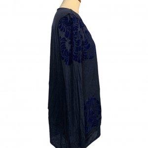 חולצת טריקו שרוול ארוך שתי שכבות כחול כהה עם תבליט עלים - DESIGUAL 3