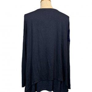 חולצת טריקו שרוול ארוך שתי שכבות כחול כהה עם תבליט עלים - DESIGUAL 2
