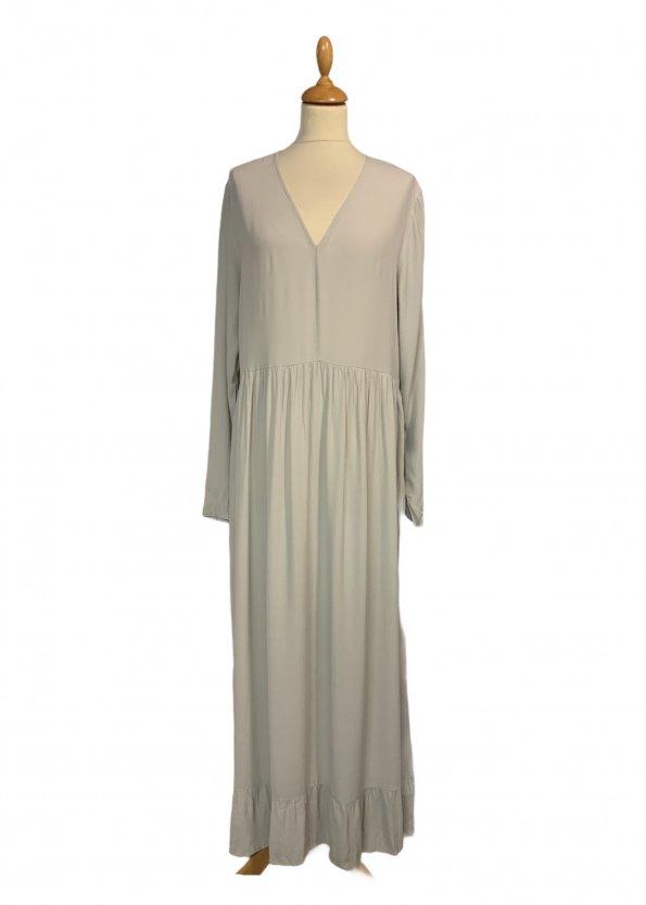 שמלה שרוול ארוך ויסקוזה צבע אפור אבן - American Vintage 1