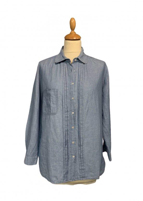 חולצה מכופתרת שרוול ארוך ג׳ינס בהיר - Sandro 1