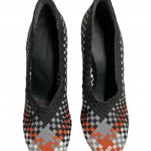 נעלי עקב שתי וערב בצבע שחור אפור כתום לבן - ALEXANDER WANG 2