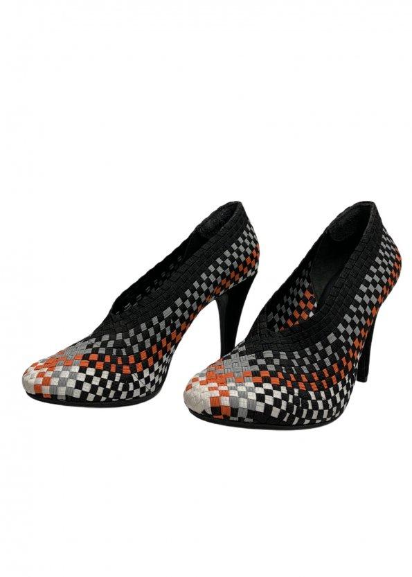 נעלי עקב שתי וערב בצבע שחור אפור כתום לבן - ALEXANDER WANG 1