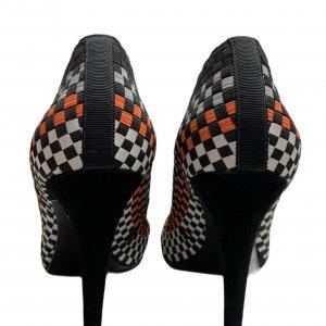 נעלי עקב שתי וערב בצבע שחור אפור כתום לבן - ALEXANDER WANG 3