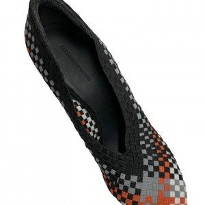 נעלי עקב שתי וערב בצבע שחור אפור כתום לבן - ALEXANDER WANG 7