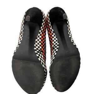 נעלי עקב שתי וערב בצבע שחור אפור כתום לבן - ALEXANDER WANG 4
