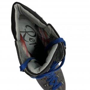 מגפיים על עקב עור זאמש אפור, סרוך כחול - REPLAY 5