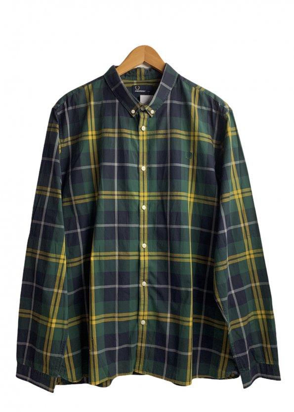 חולצה מכופתרת משבצות ירוק צהוב - FRED PERRY 1