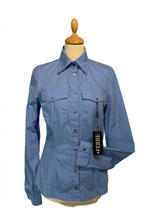 חולצה מכופתרת תכלת כהה - GIANFRANCO FERRE 1