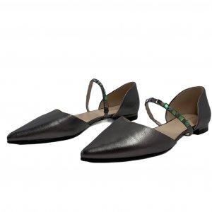 נעלי בובה שפיץ עור כסוף עם רצועה ואבנים - PAZOLINI 2
