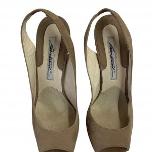 נעלי עקב עם פלטפורמה בצבע חום עם חבלים לבנים - BRIAN ATWOOD 3