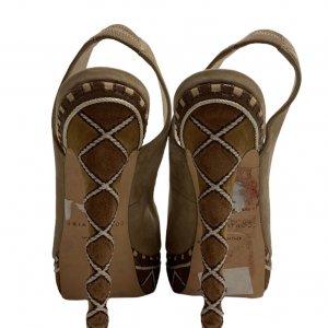 נעלי עקב עם פלטפורמה בצבע חום עם חבלים לבנים - BRIAN ATWOOD 4