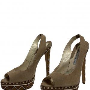 נעלי עקב עם פלטפורמה בצבע חום עם חבלים לבנים - BRIAN ATWOOD 2