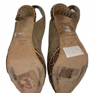 נעלי עקב עם פלטפורמה בצבע חום עם חבלים לבנים - BRIAN ATWOOD 6