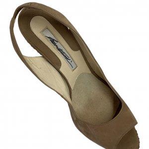 נעלי עקב עם פלטפורמה בצבע חום עם חבלים לבנים - BRIAN ATWOOD 8