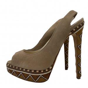 נעלי עקב עם פלטפורמה בצבע חום עם חבלים לבנים - BRIAN ATWOOD 5