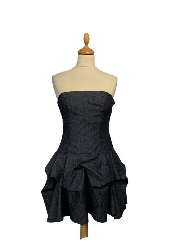 שמלה סטרפלס ג׳ינס שכבות - WARE DENIM 1
