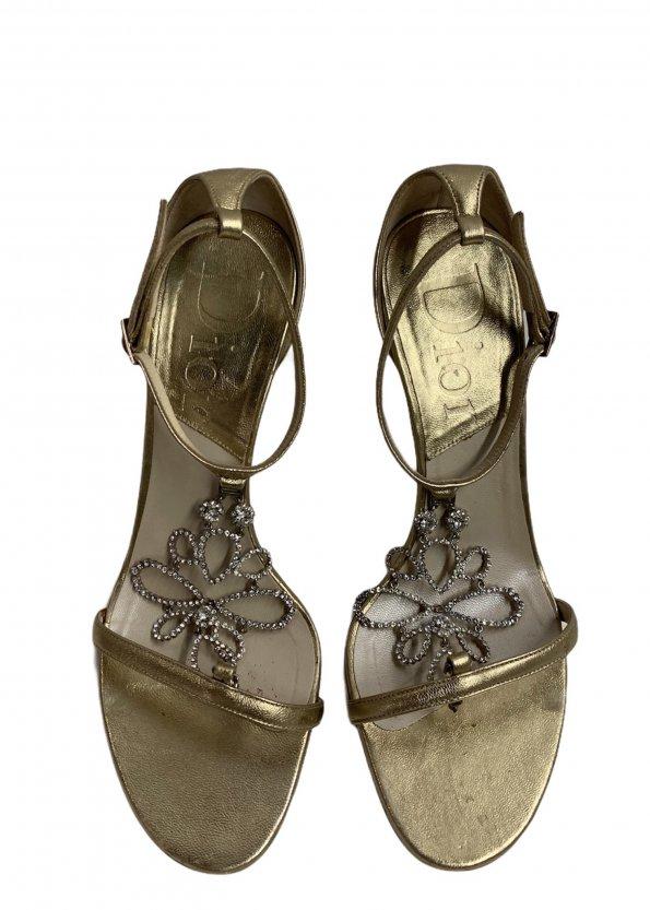 נעלי עקב זהובות - CHRISTIAN DIOR 1