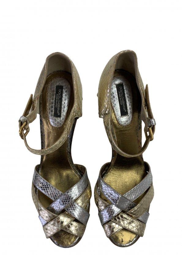 סנדלי פלטפורמה מעץ רצועות עור נחש בצבעי כסף וזהב - Dolce & Gabbana 1