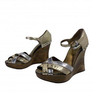 סנדלי פלטפורמה מעץ רצועות עור נחש בצבעי כסף וזהב - Dolce & Gabbana 2