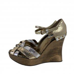 סנדלי פלטפורמה מעץ רצועות עור נחש בצבעי כסף וזהב - Dolce & Gabbana 4