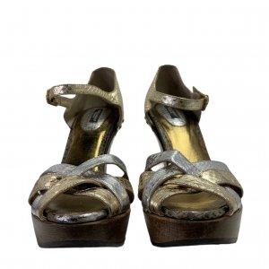 סנדלי פלטפורמה מעץ רצועות עור נחש בצבעי כסף וזהב - Dolce & Gabbana 3