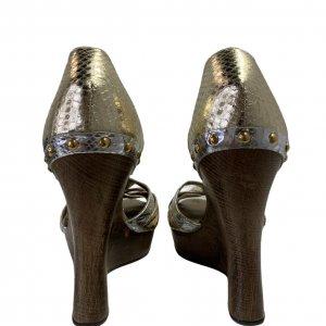 סנדלי פלטפורמה מעץ רצועות עור נחש בצבעי כסף וזהב - Dolce & Gabbana 6