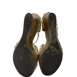 סנדלי פלטפורמה מעץ רצועות עור נחש בצבעי כסף וזהב - Dolce & Gabbana 5