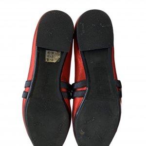 נעלי בובה סתם אדום מבריק רצועות גומי משובצות אבני סברובסקי - Pazolini 5