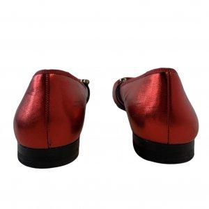 נעלי בובה סתם אדום מבריק רצועות גומי משובצות אבני סברובסקי - Pazolini 4