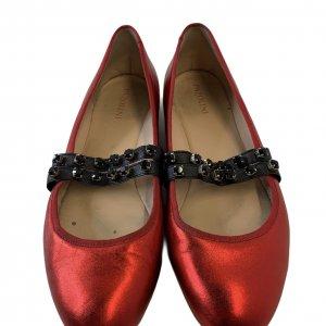 נעלי בובה סתם אדום מבריק רצועות גומי משובצות אבני סברובסקי - Pazolini 3