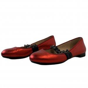 נעלי בובה סתם אדום מבריק רצועות גומי משובצות אבני סברובסקי - Pazolini 2