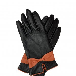 כפפות עור שחורות עם פפיון כתום 3