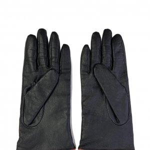 כפפות עור שחורות עם פפיון כתום 2