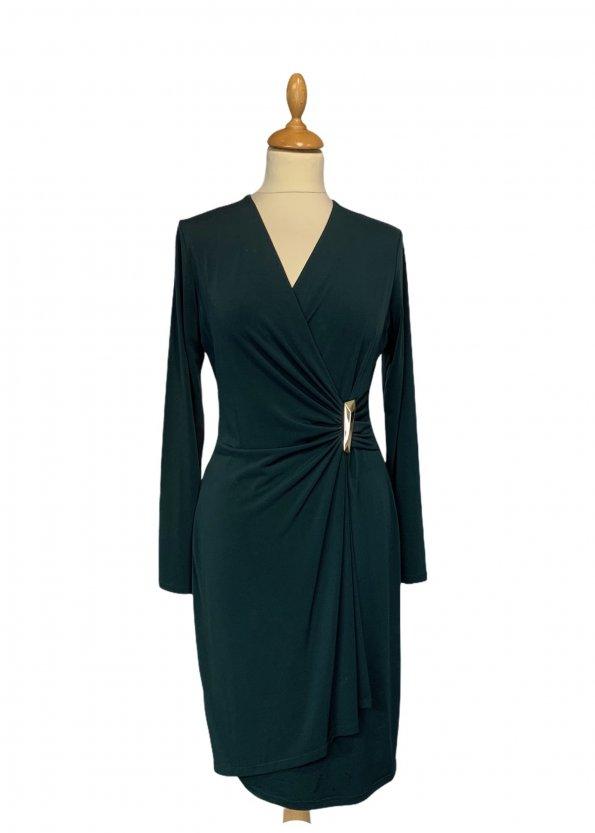 שמלת מעטפת בצבע ירוק בקבוק - CALVIN KLEIN 1